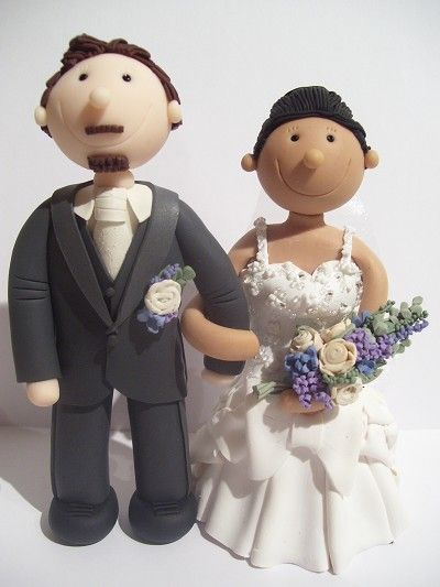 Fully personalised polymer clay Wedding cake toppers