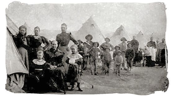 "Boer women. Emily Hobhouse's report: ""The women are wonderful. They cry very little and never complain. The very magnitude of their sufferings, their indignities, loss and anxiety seems to lift them beyond tears… only when it cuts afresh at them through their children do their feelings flash out."""
