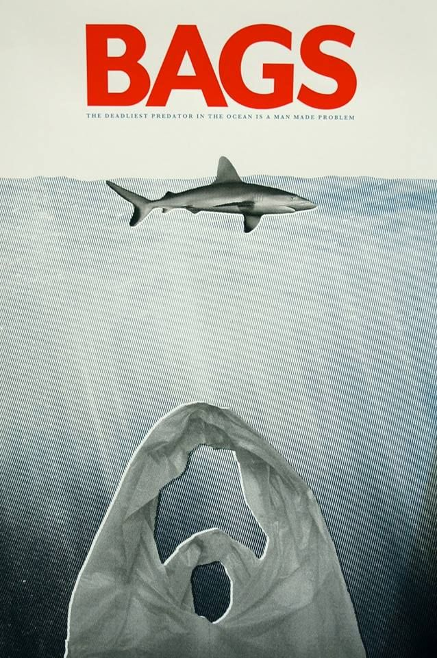 JAWS poster remake - the shark is the victim, plastic is the predator. Plastic in our oceans kills 100,000 marine creatures every year