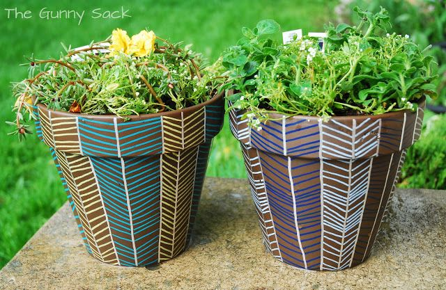 Mother's Day Herringbone Flower Pots with Painters Paint Markers | The Gunny Sack