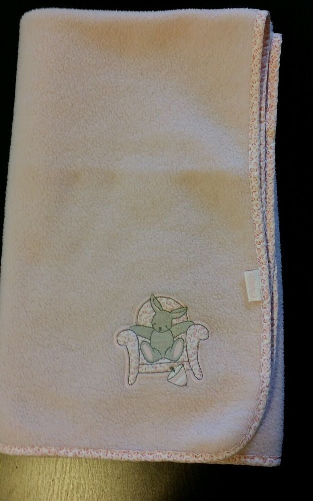 Carters Baby Blanket Pink Fleece Bunny Sitting in Chair  B3 #Carters
