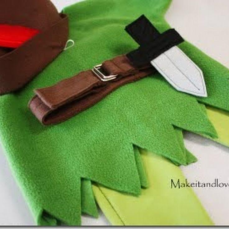 Hacer disfraz de Peter Pan en Fieltro para niño