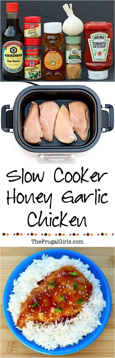 Slow Cooker Honey Garlic Chicken Recipe! Delicious, savory, and the perfect excuse to lick some Honey off your fingers!