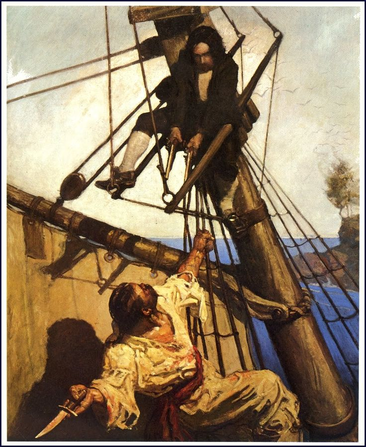 "N. C. Wyeth, 1911. ""One more step, Mr. Hands,"" said I, ""and I'll blow your brains out""."
