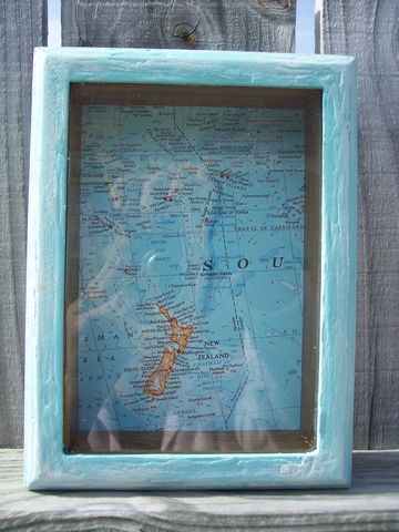 Rustic,,Distressed,Aqua,Blue,Shadow,Box,with,Vintage,Map,rustic, primitive, home decor, ocean blue, aqua blue, chippy paint, distressed,  be...