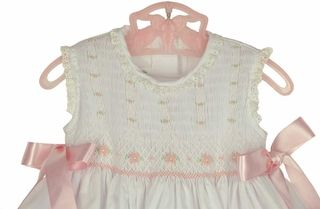 White smocked baby dress,