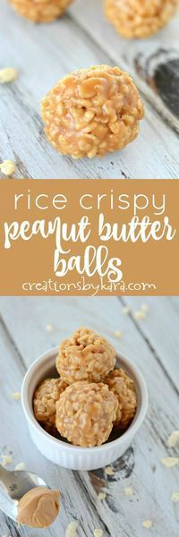 These simple peanut butter balls are easy to make, but hard to resist! They are chewy, crunchy, and packed with peanut butter flavor. via creationsbykara.com