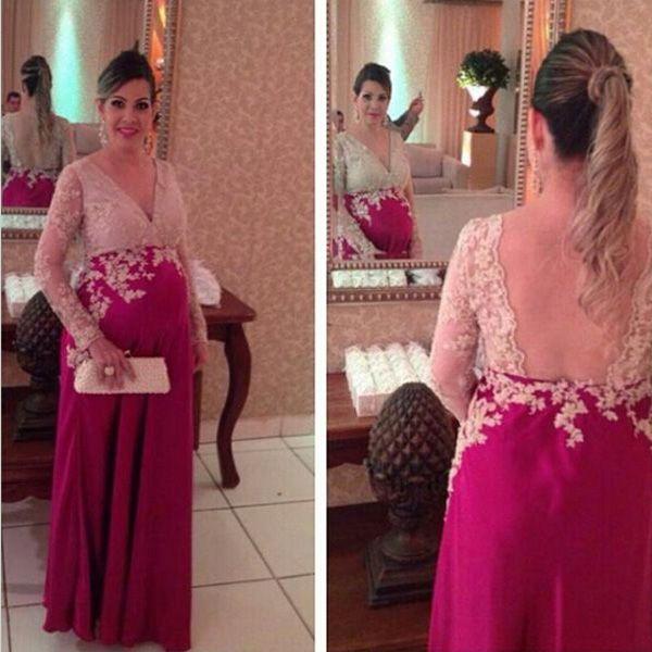 Mode Abendkleider Party Damen Kleid Langärmeliges Kleid für Schwanger