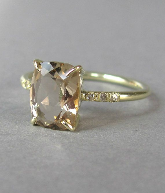 champagne quartz with diamonds lucky number gold set