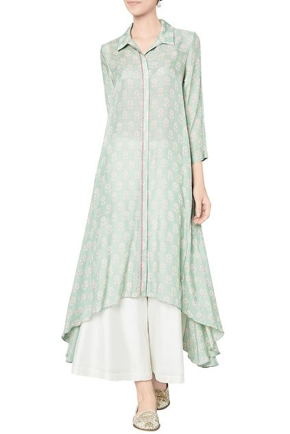 Sage green modal silk printed tunic