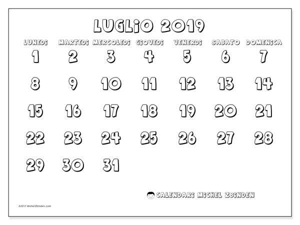 Calendario Luglio 2019 56ld Scuola Calendario Calendari