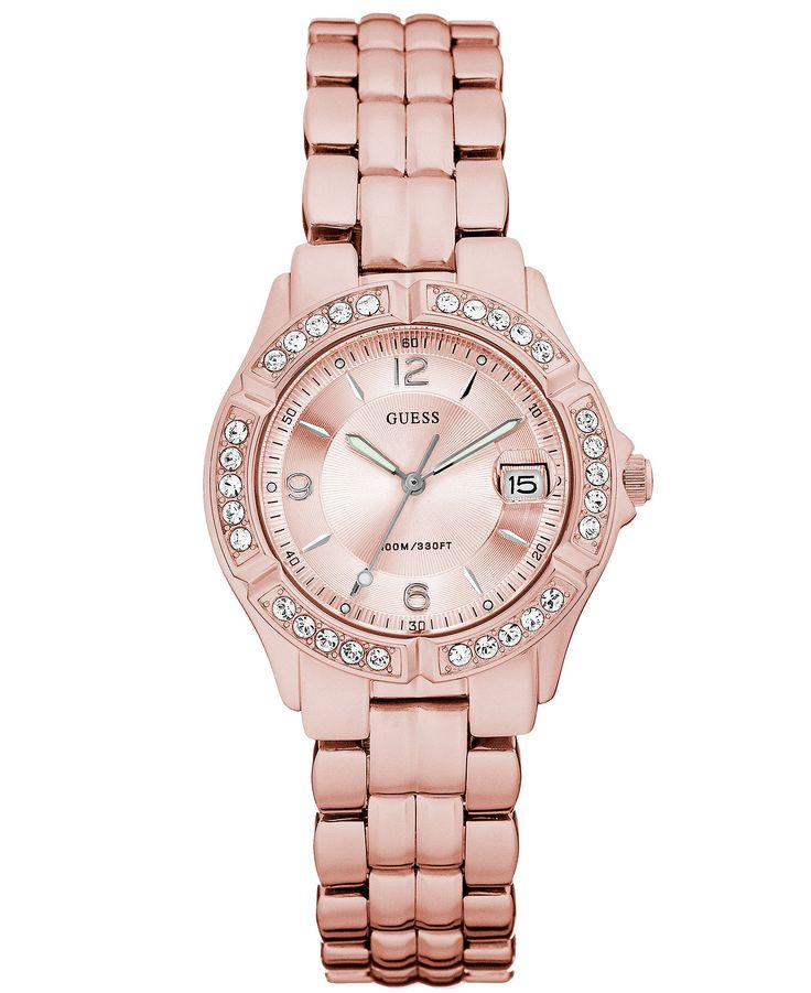 GUESS Watch, Women's Pink Aluminum ... If I had this watch, I'd finally wear one. Lol