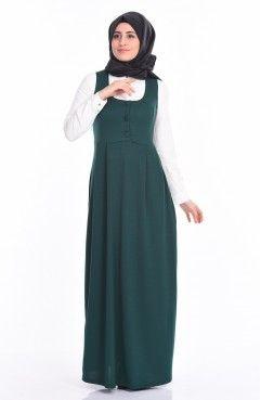 Jile Detaylı Elbise 2115-11 Zümrüt Yeşil