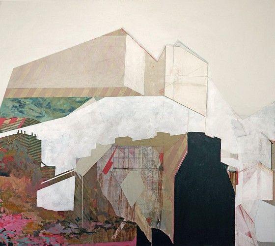ANDY CURLOWE, Cloud Over Jeffrey 2014, acrylique, collage et graphite sur lin / acrylic, collage and graphite on linen