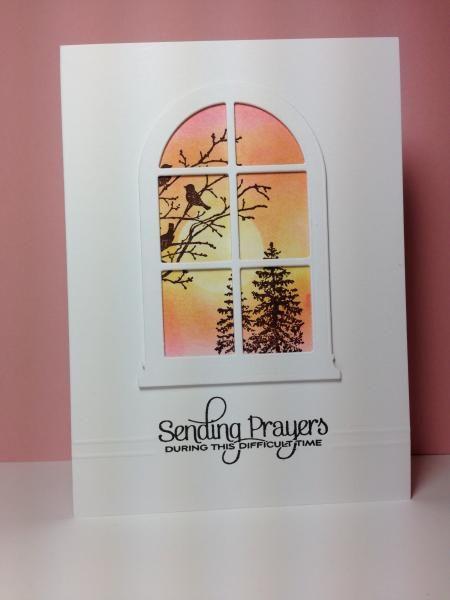 SU Serene Silhouettes, sub my Madison Window die, red birds, do as a Christmas card