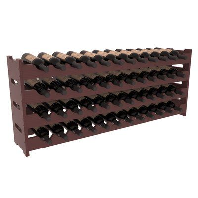 Red Barrel Studio Karnes Pine Scalloped 48 Bottle Tabletop Wine Rack Finish: Walnut Satin