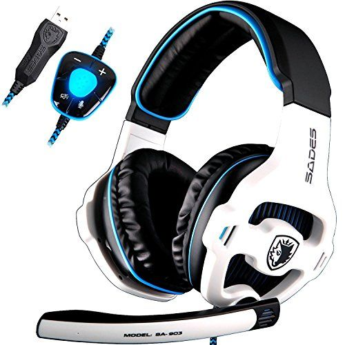 SADES SA903 7.1 Surround Sound Stereo Pro PC USB Gaming Headset Stirnband Kopfh�rer mit Mikrophon tiefe Bass Over-the-Ear-Lautst�rkeregler -LED-Leuchten f�r PC-Spieler (wei�)