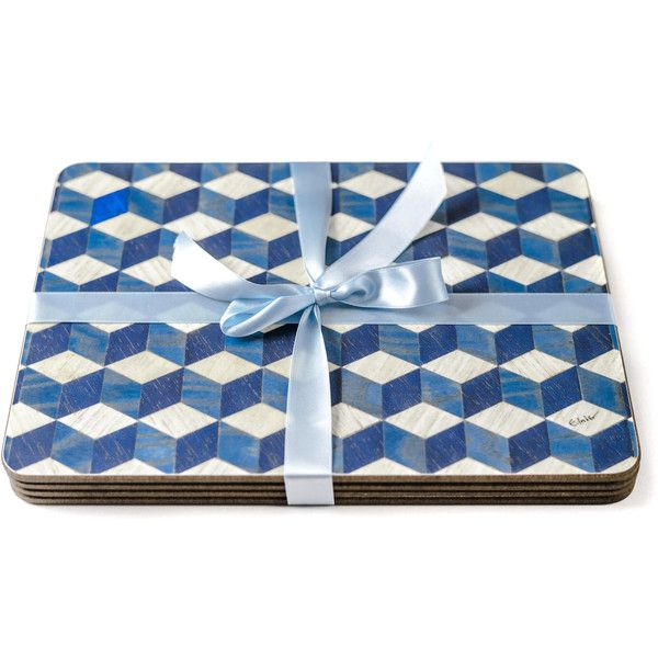 6 Large Blue Placemats Large place mats Blue tablemats Melamine... (€105) ❤ liked on Polyvore featuring home, kitchen & dining, table linens, colored placemats, heat resistant placemats, blue table mats, blue placemats and blue table linens