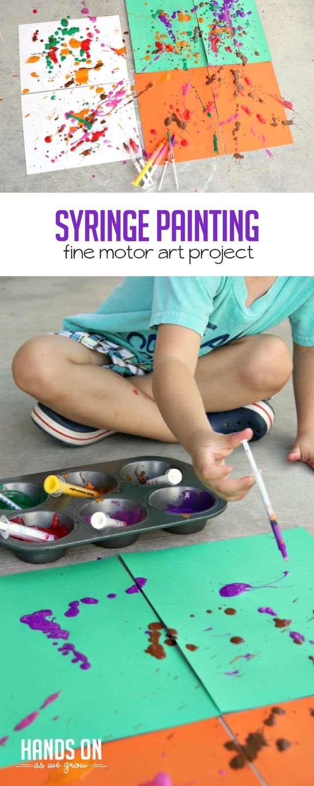 What a fun, active way to make art -- syringe painting! via @handsonaswegrow