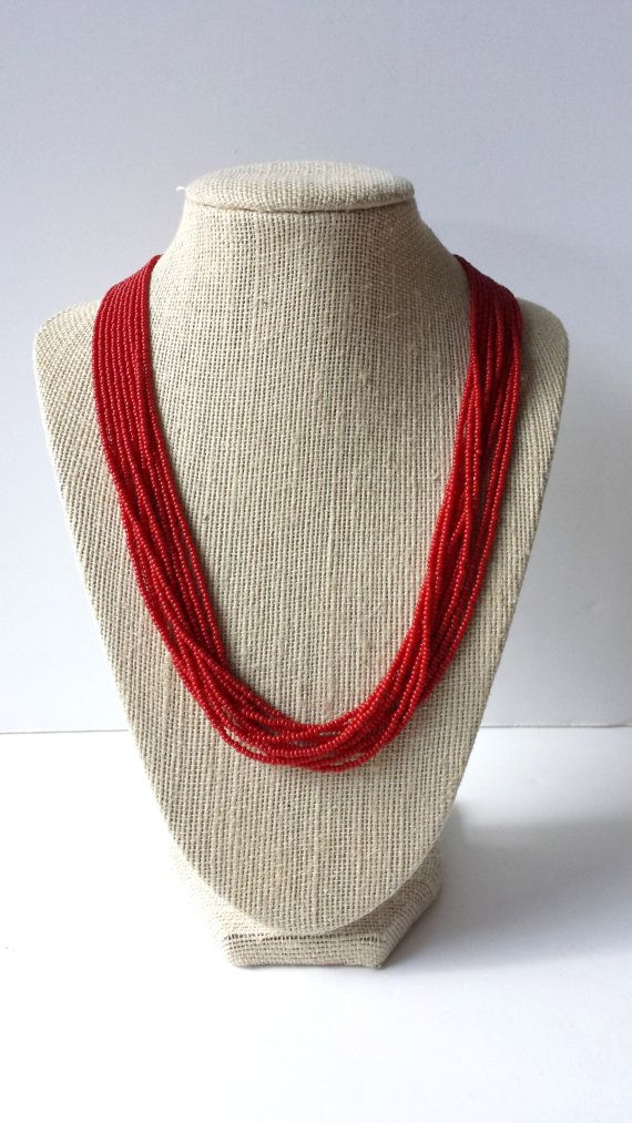 Red necklace, valentines necklace, bright red necklace, holidays necklace, beaded necklace, seed beads jewerly, red, burgundy on Etsy, $15.00