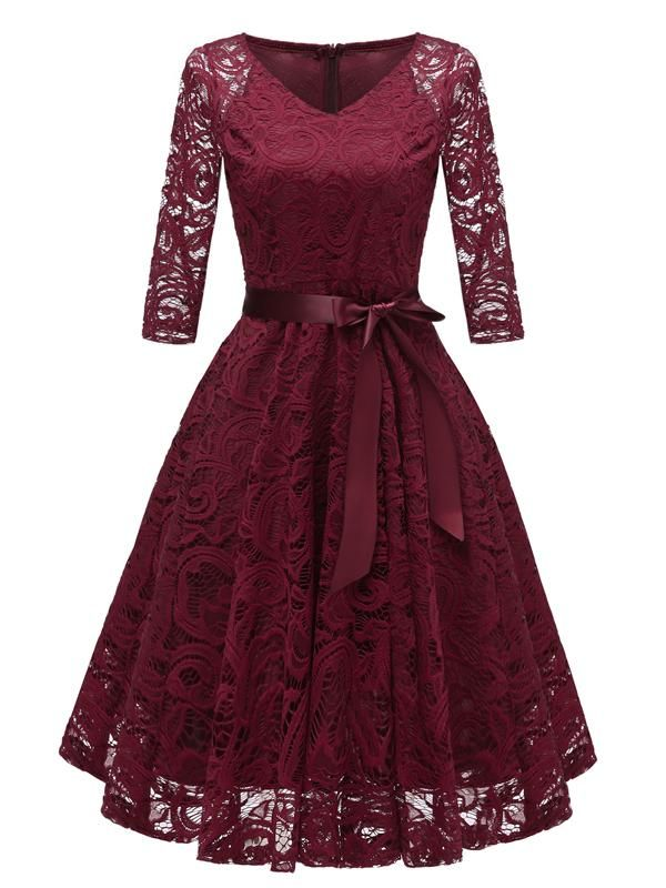Womens Vintage Lace Formal Wedding Cocktail Evening Party Ladies Swing Dress