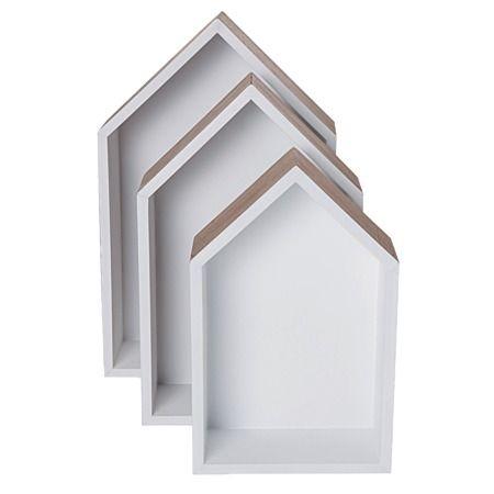 Blanco House Shelves Set 3 Piece Wood