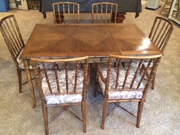 Beautiful Wood Bamboo Look Table And Chairs DREXEL 600