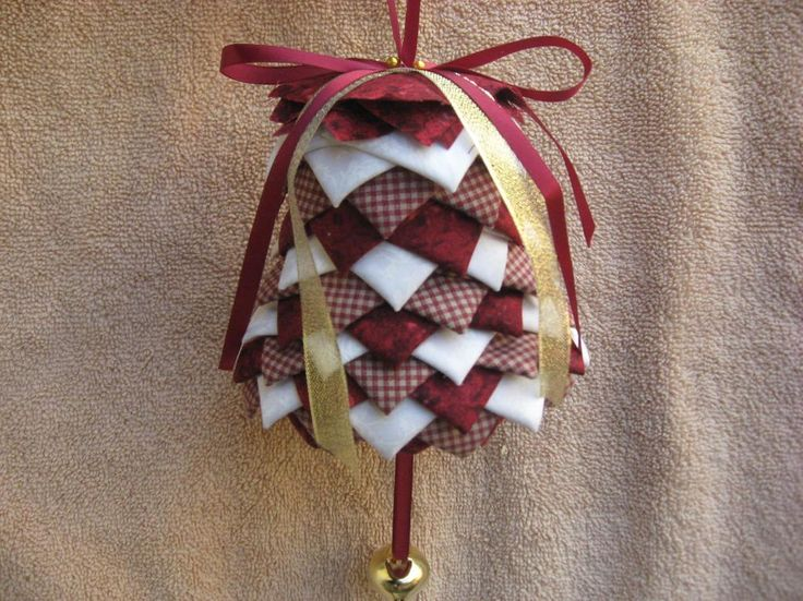 No Sew Folded Fabric Bell Ornament Pattern Ornament