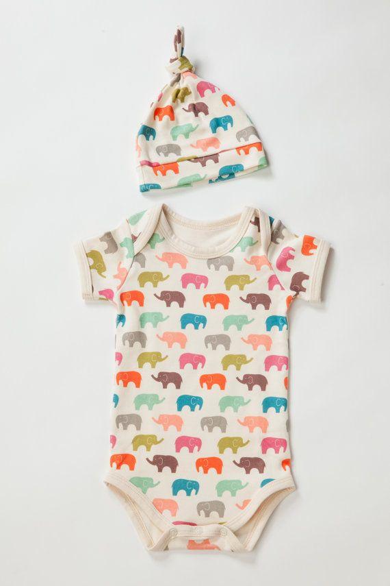 ORGANIC baby onesie, 100% certified organic cotton, body suit, Jelly Elephant warm, US organic cotton