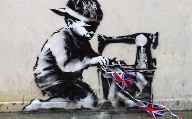 New Banksy Diamond Jubilee Sweatshop Kid Artwork.