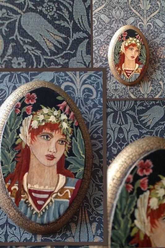 Handpainted Brooch  Flora by leVintageViolet on Etsy, $72.00