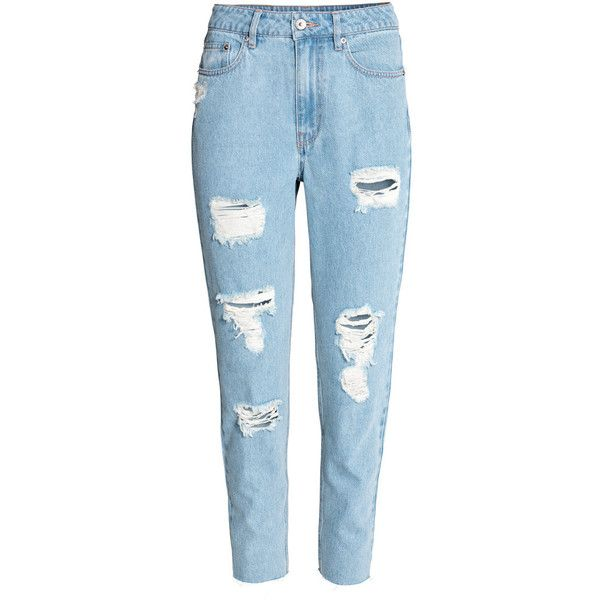 H&M Mom Jeans Trashed $24.99 (€22) ❤ liked on Polyvore featuring jeans, pants, bottoms, calças, pantalones, high waisted ripped jeans, high rise jeans, high waisted jeans, distressed jeans and ripped blue jeans