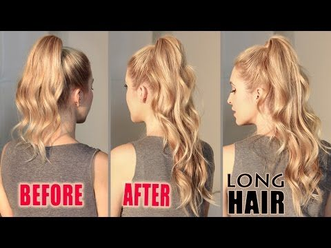 How to get LONG HAIR in 2 min WITHOUT extensions. ARIANA GRANDE hair tutorial - YouTube