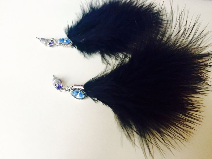 Glamorous Elegant Black Feather Earrings with Blue Sparkling Beads Chic Jewellery by BarbarittasBoutique on Etsy
