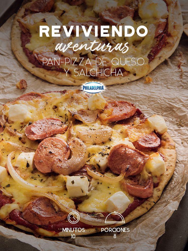 Esta Pan-pizza de quesos y salchicha será la sorpresa perfecta para esa fiesta con tus mejores amigos.  #recetas #receta #quesophiladelphia #philadelphia #crema #quesocrema #queso #comida #cocinar #cocinamexicana #recetasfáciles #pizza #pan #salchicha #recetapizza #botana #findesemana #comida #pizzas