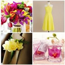 Love the yellow dress w bright colorful flowers!