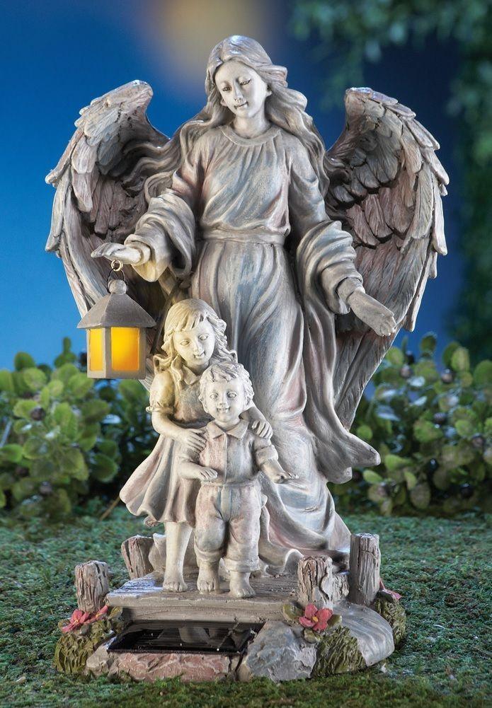 Solar Guardian Angel Children Figurine Garden Statue