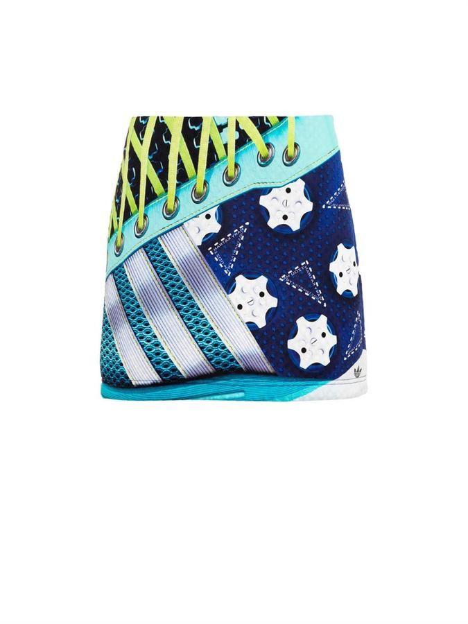 Tonal-blue, green, purple and white super-size sneaker-print, neoprene High waist, mini A-line skirt Black printed hemline logo Concealed side zip fastening
