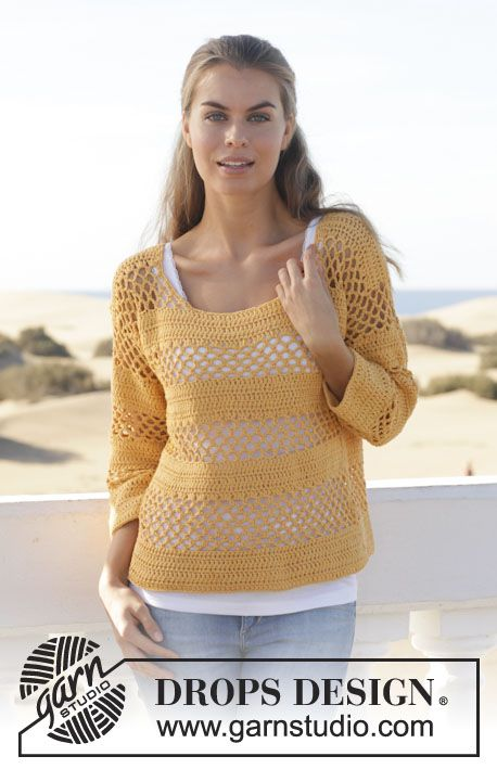 """Crochet DROPS jumper with lace pattern and double crochet in """"Cotton Light"""". Size: S - XXXL. ~ DROPS Design"""