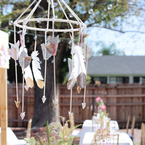 Baby Mobile  Hanging Arrow Mobile  Feather Gold by CinamonGirl