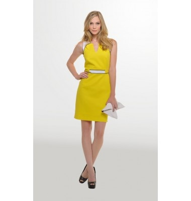 Πικέ βαμβακερό φόρεμα σε στενή γραμμή, 1-303448  yellow dress summer women's fashion