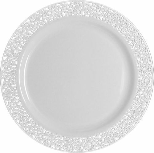 White plastic plate with white trim, will enhance your wedding or corporate event. Get all you stunning plastic tableware and elegant disposable plates and bowls at www.poshpartysupplies.com