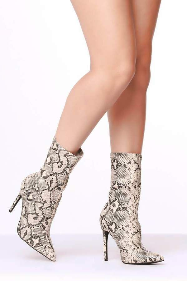 1596bc2032 Isawitfirst Grey Snake Print Heeled Ankle Boots