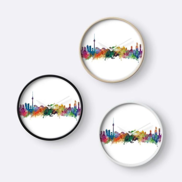 Berlin  #berlin #skyline #landscape #cityscape #art #print #clock #home #office #wall #decor #gift #ideas #travel #colorful #europe #deutschland #germany #german #city #architecture #tower #abstract #watercolor #minimalist