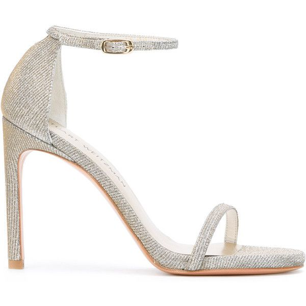 Stuart Weitzman Nudist Song sandals (€395) ❤ liked on Polyvore featuring shoes, sandals, grey, grey high heel sandals, grey strappy sandals, strappy high heel sandals, gray sandals and ankle strap high heel sandals