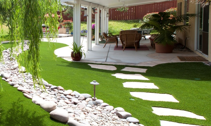 The 2 Minute Gardener is a great online resource with over 600 garden photos. This photo shows a patio surrounded by Field Turf (artificial grass).