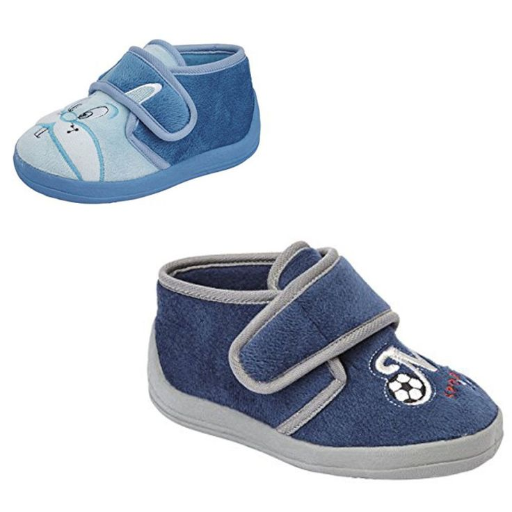Boys Girls Bedroom Slippers Blue Navy Childs childrens Sizes 4,5,6,7,8,9,10 New
