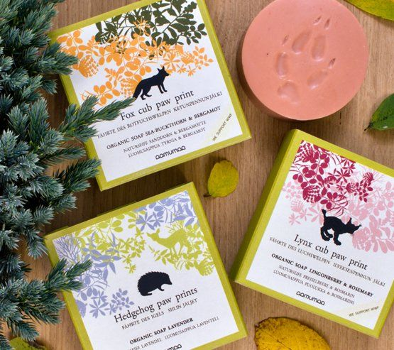 Organic gift soaps from an eco-friendly company Aamumaa from Finland.