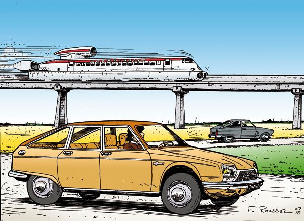 """Jolie rencontre dans le Loiret, entre Saran et Ruan, de trois véhicules à """"turbine"""". L'Aérotrain I80 HV de la société Bertin qui a atteint, sur cette ligne, la vitesse de 430 km/h le 5 mars 1974, la M35 et son monorotor Wankel ainsi que la GS Birotor dont Citroën attend alors beaucoup. Mais les conséquences du choc pétrolier de 1973 (elle consomme entre 12 et 20 l !) stopperont immédiatement son élan, disparaissant quasiment en même temps que le projet Aérotrain."""
