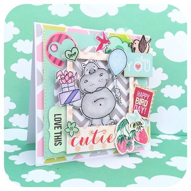 Kartka urodzinowa scrapbooking z hipciem. Pełna warstw i kolorów, w sam raz na letnie przyjęcia urodzinowe. Scrapbooking birthday card with a sweet hippo from whimsystamps. Full of colors, perfect for a summer party.